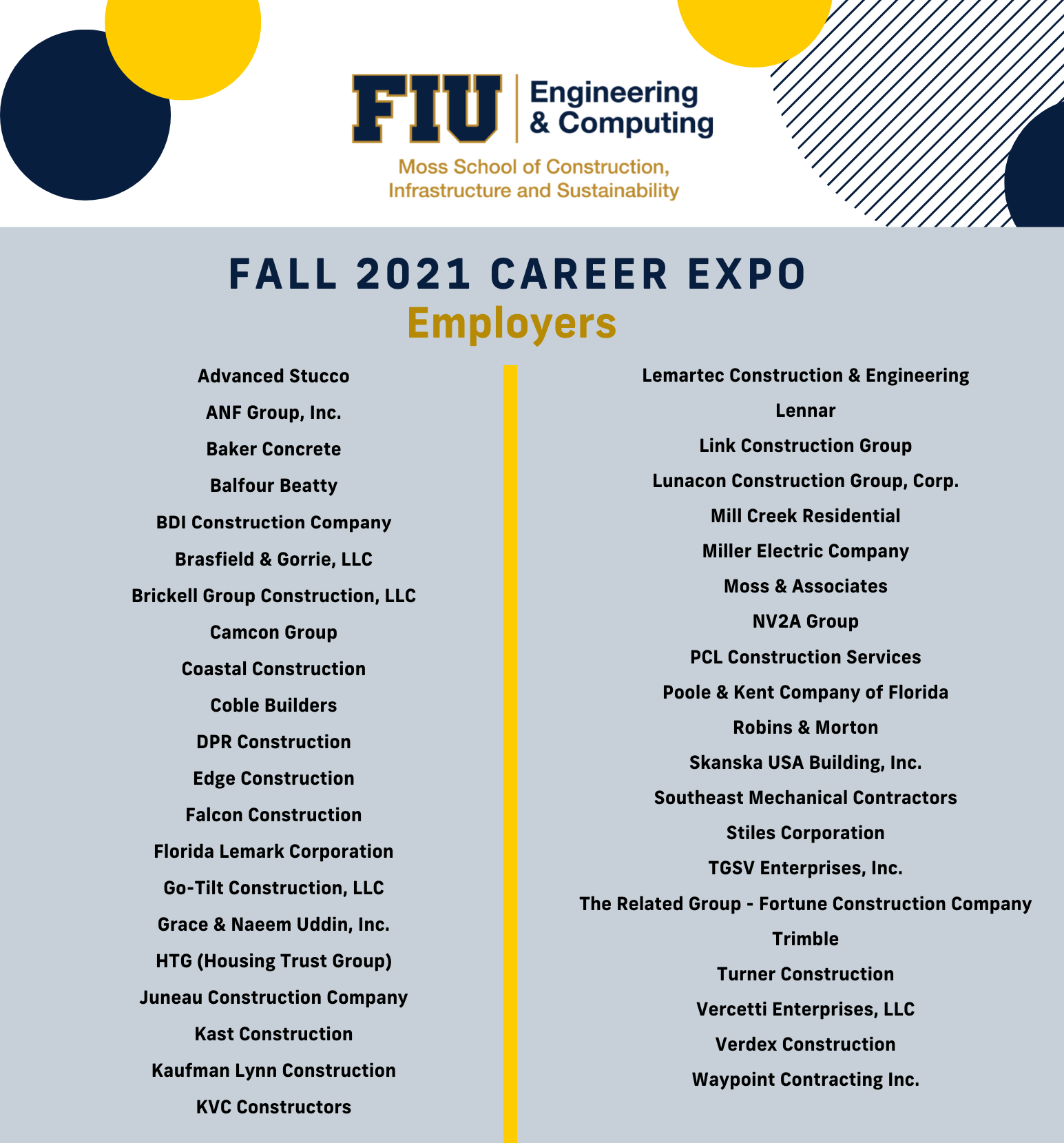 attending companies for the fall 2021 career expo